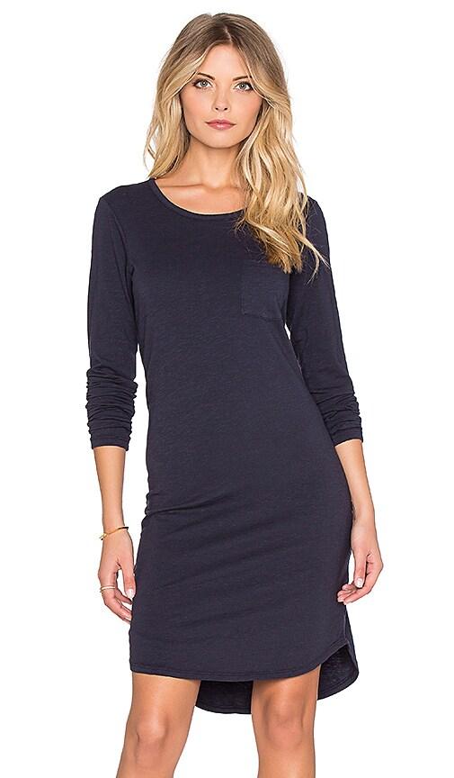 SUNDRY Long Sleeve Pocket Dress in Midnight