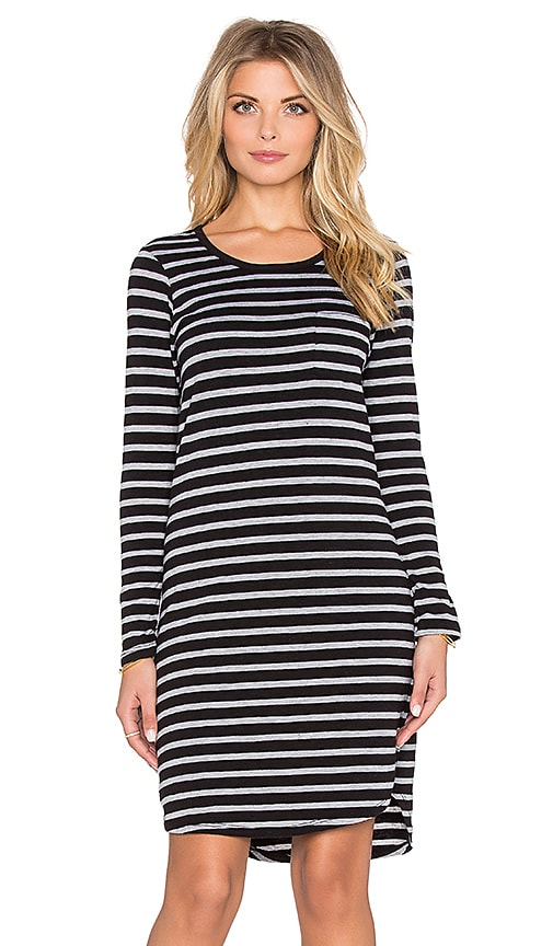 SUNDRY Striped Long Sleeve Pocket Dress in Black