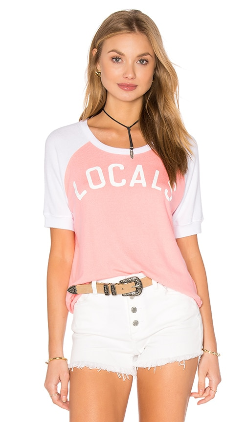 SUNDRY Locals Short Sleeve Pullover Knit in Pink