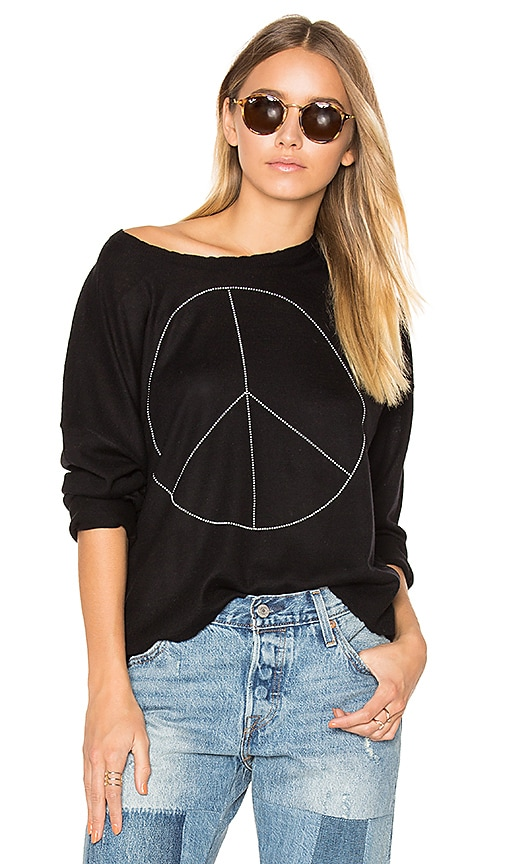 SUNDRY Peace Cashmere Sweater in Black