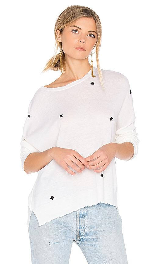 SUNDRY Star Patches Cashmere Pullover in Beige
