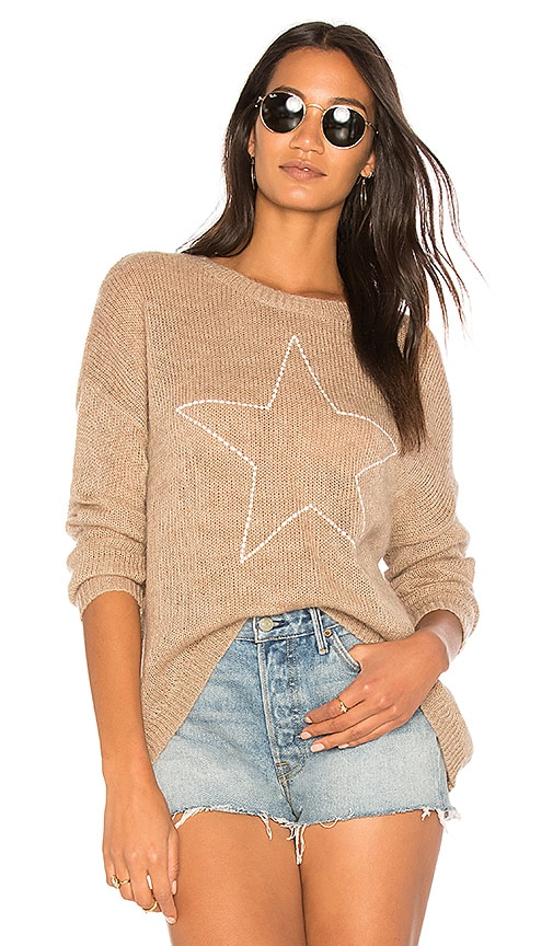 SUNDRY Star Loose Knit Sweater in Brown