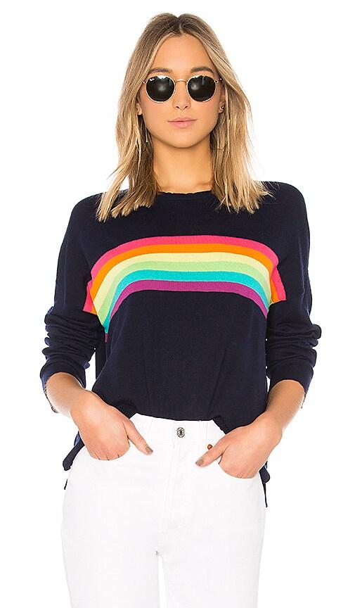 7884ea1761 SUNDRY Rainbow Stripes Crew Neck in Navy | REVOLVE