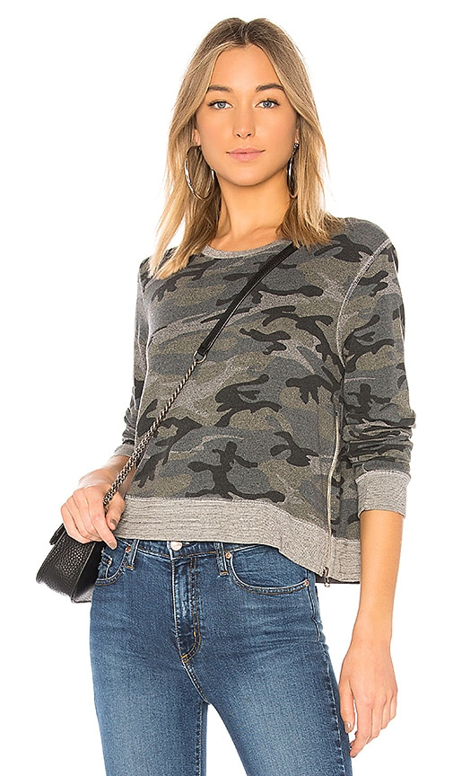 SUNDRY Camo Double Zip Sweatshirt in Gray