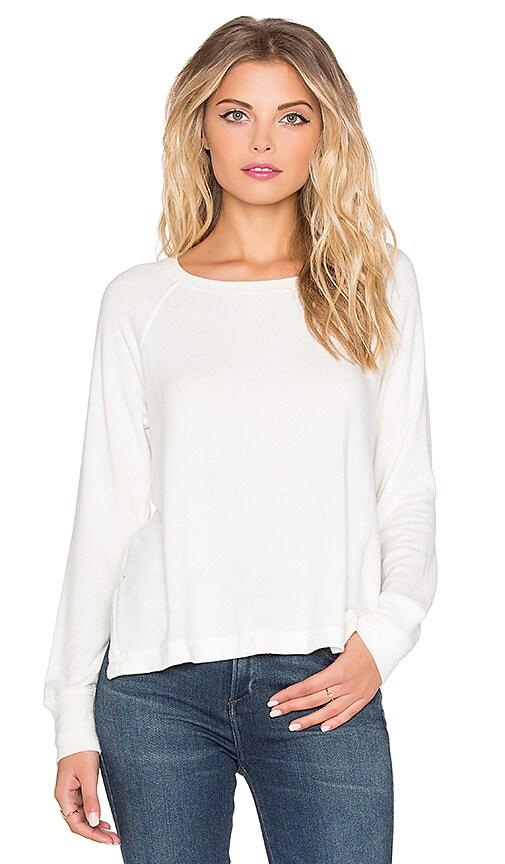 SUNDRY Open Side Long Sleeve Sweater in Ivory