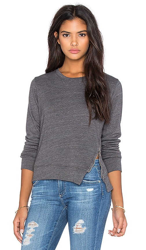 SUNDRY Side Zip Pullover in Dark Grey