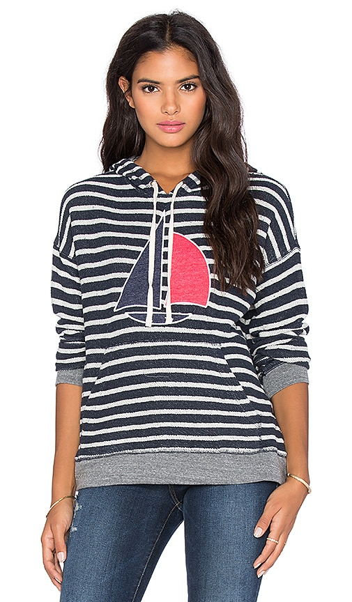 SUNDRY Sailboat Stripe Hoodie in Navy, White & Heather Grey