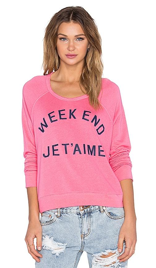 SUNDRY Weekend Crop Sweatshirt in Flamingo