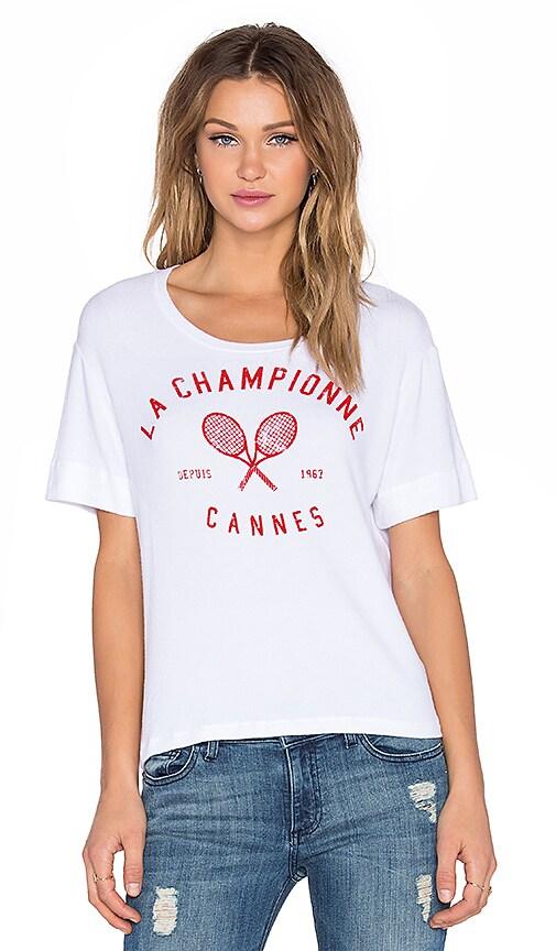 SUNDRY Champ Short Sleeve Sweater in White