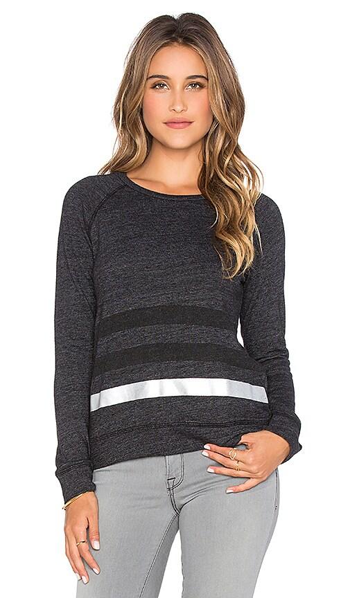 SUNDRY Striped Basic Sweatshirt in Black