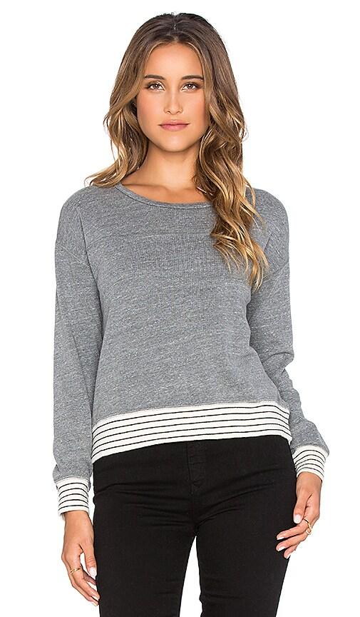 SUNDRY Striped Rib Sweatshirt in Heather Grey