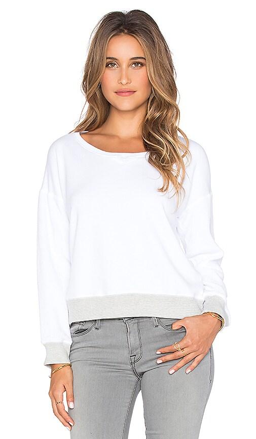 SUNDRY Contrast Rib Sweatshirt in White