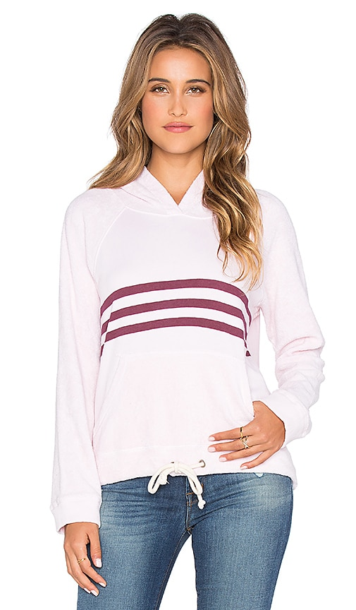 SUNDRY Striped Drawcord Hoodie in Petal