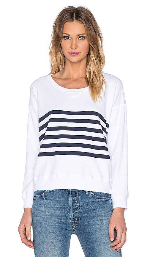 SUNDRY Stripes Ribbed Sweatshirt in White