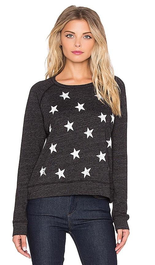 SUNDRY Scatter Stars Basic Raglan Sweatshirt in Black