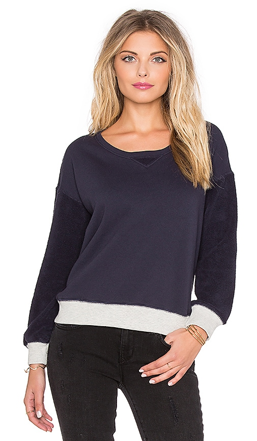 SUNDRY Contrast Rib Sweatshirt in Midnight