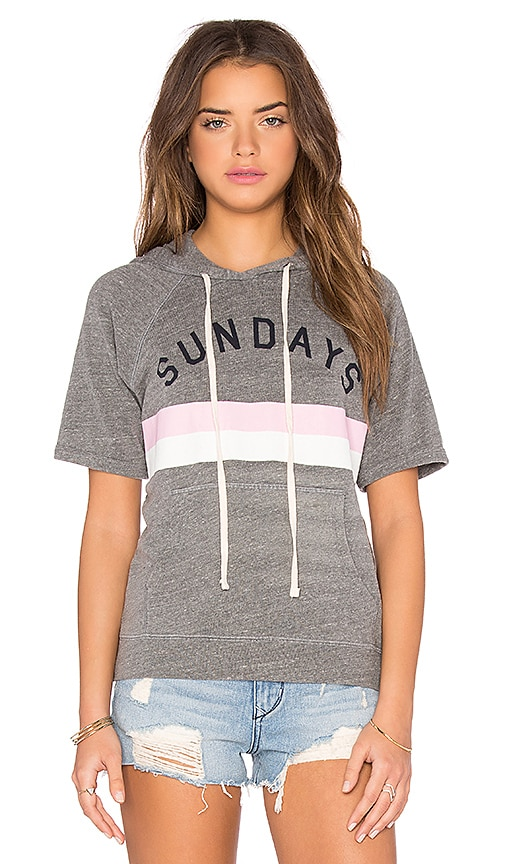 SUNDRY Sundays Stripes Short Sleeve Sweatshirt in Gray
