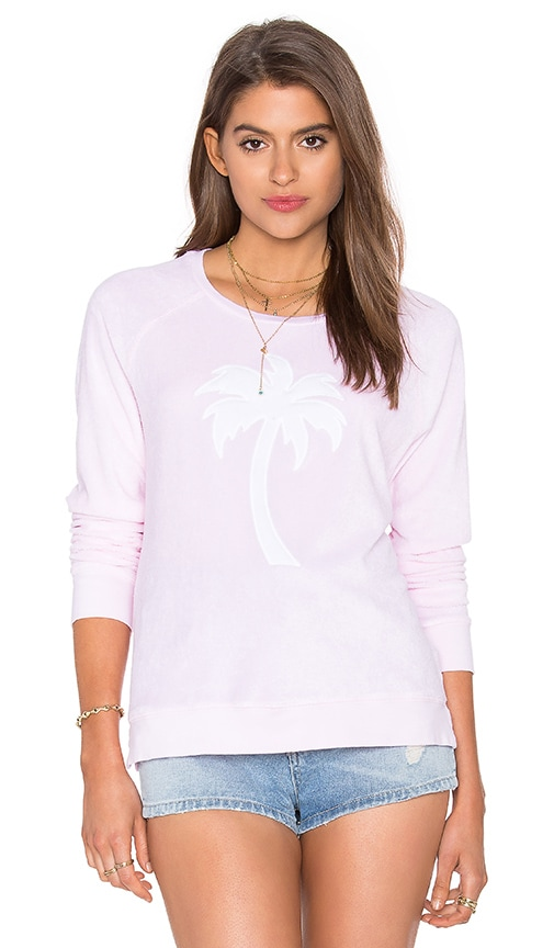SUNDRY Palm Sweatshirt in Pink