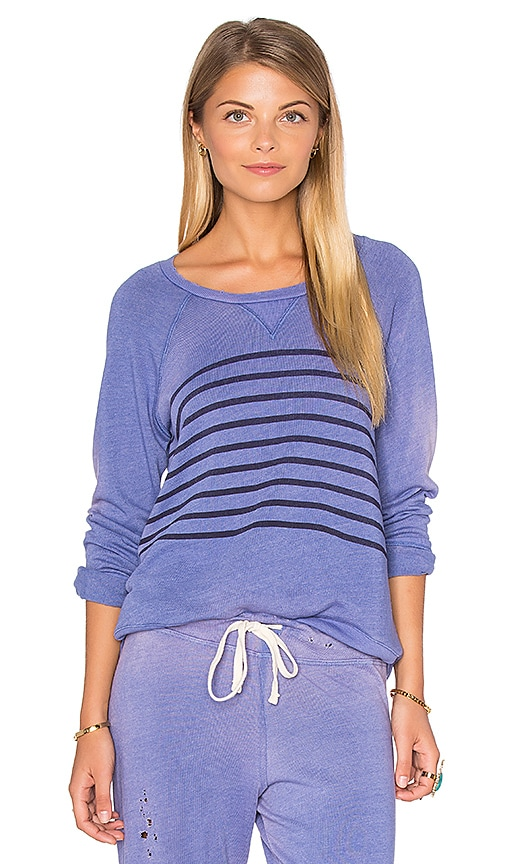 SUNDRY Raglan Striped Sweatshirt in Purple