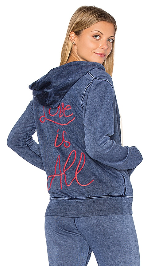 SUNDRY Light Terry Love Is All Hoodie in Blue