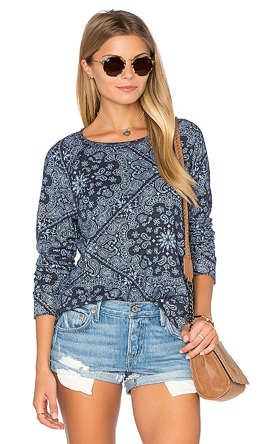 SUNDRY Bandana Pattern Fleece Sweatshirt in Navy
