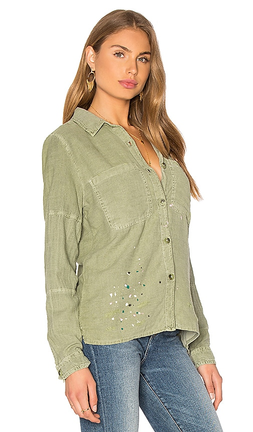 3e12d9b8c72 SUNDRY Paint Splashes Oversized Jacket in Pigment Olive low-cost ...