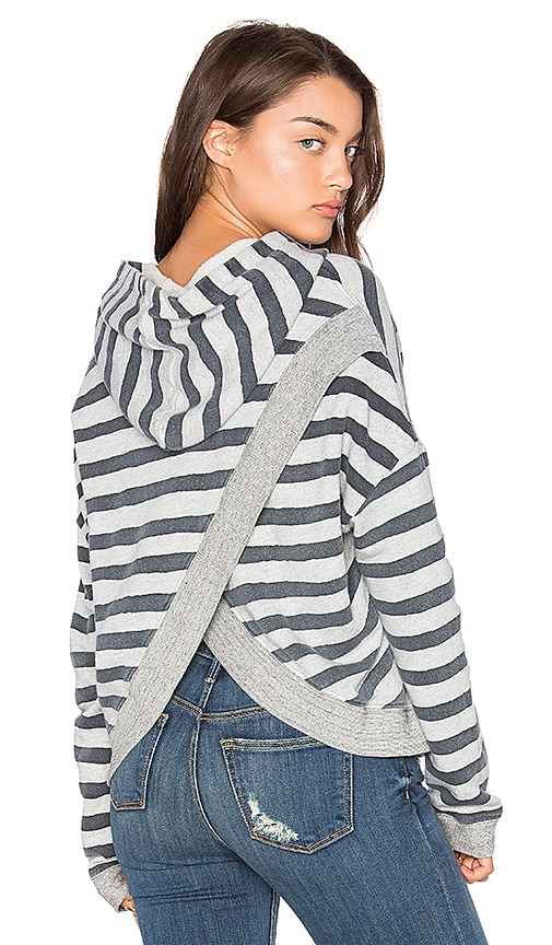 SUNDRY Terry Cross Back Hoodie in Grey