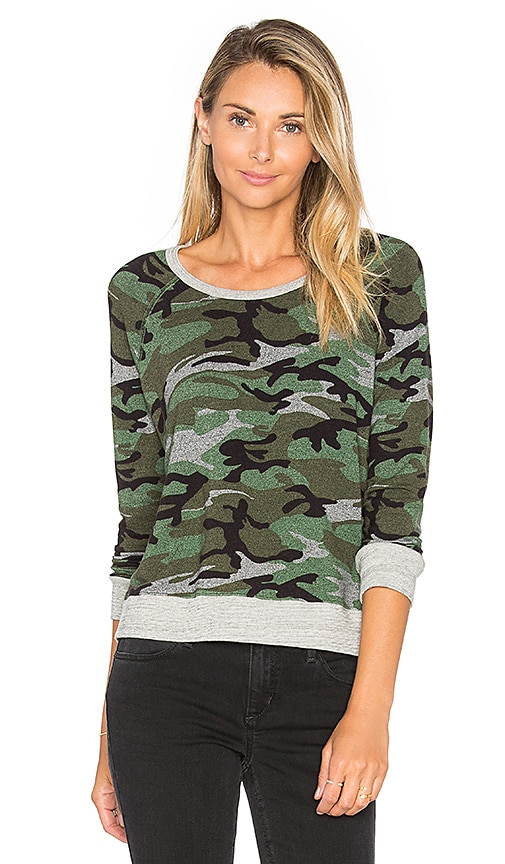 SUNDRY Crop Pullover in Green