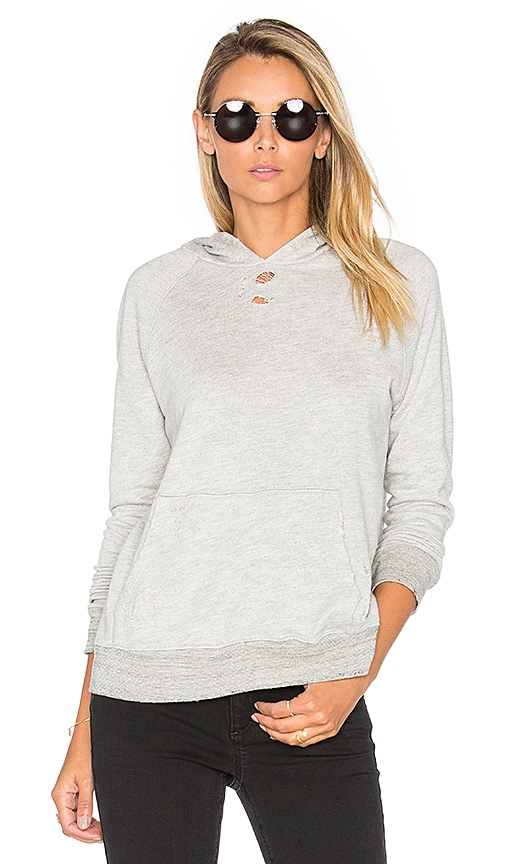 SUNDRY Distressed Pullover Hoodie in Light Gray