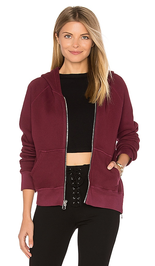 SUNDRY Side Zip Hoodie in Burgundy
