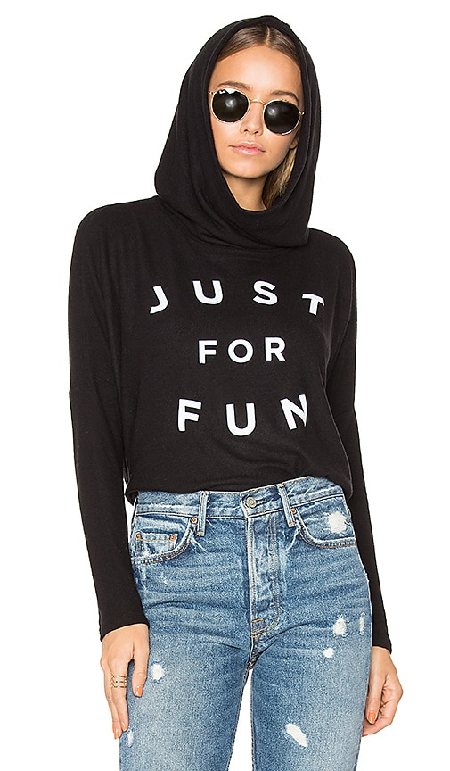 SUNDRY Just For Fun Pullover Hoodie in Black