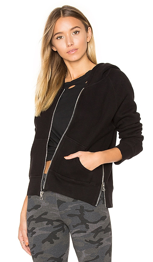 SUNDRY Side Zip Hoodie in Black