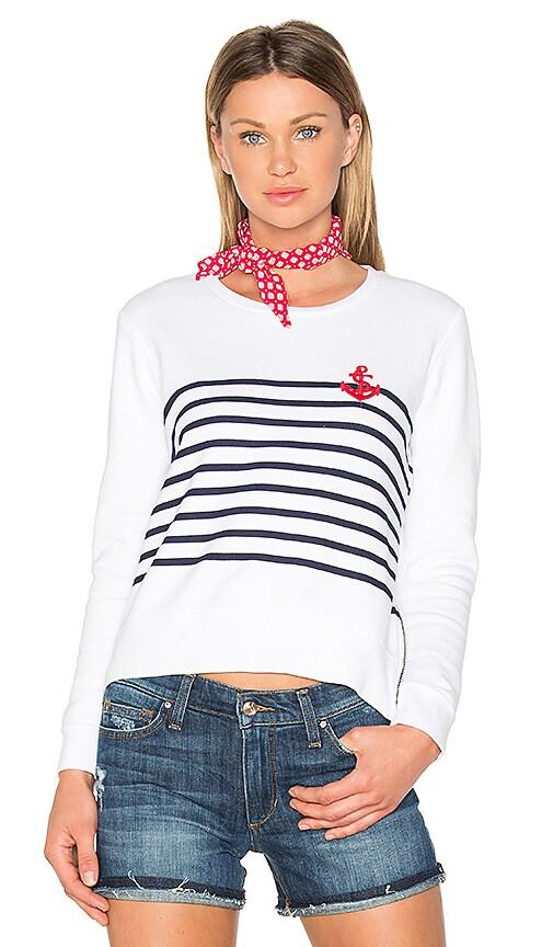 SUNDRY Anchor Stripe Sweatshirt in White
