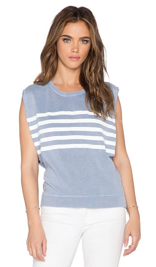 SUNDRY Stripe Muscle Sweatshirt in Vintage Pale Blue