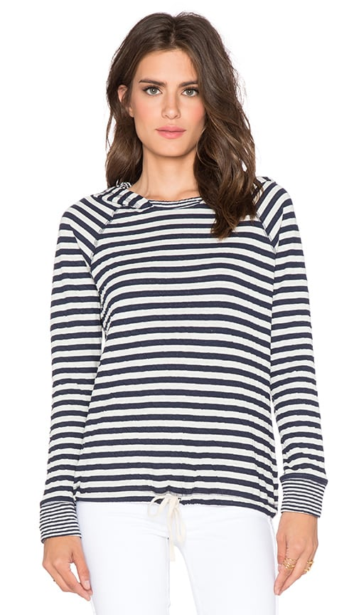 SUNDRY Stripe Tie Hoodie in White & Blue