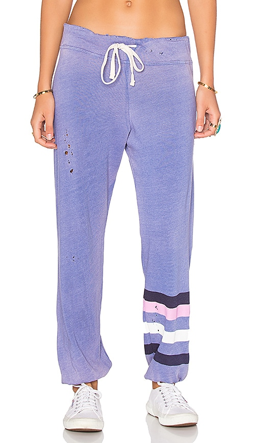 SUNDRY Classic Striped Sweatpants in Purple