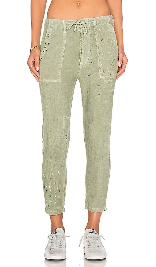 SUNDRY Paint Splashes Drawstring Pant in Olive