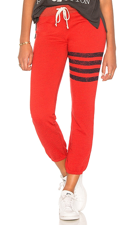 SUNDRY Stripes Sweatpants in Red