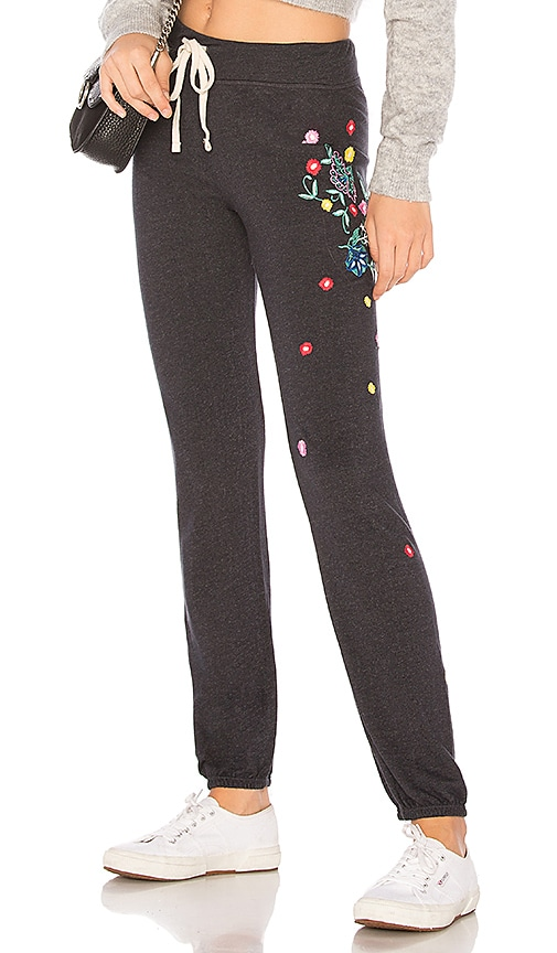SUNDRY Floral Embroidery Sweatpants in Black