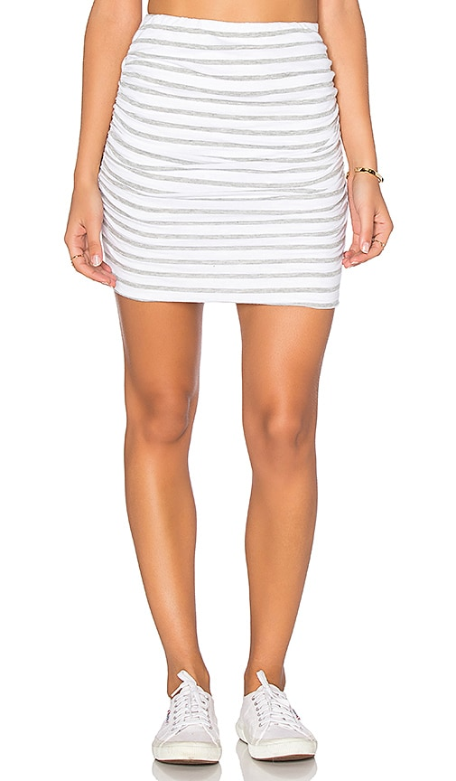 SUNDRY Striped Ruched Mini Skirt in White