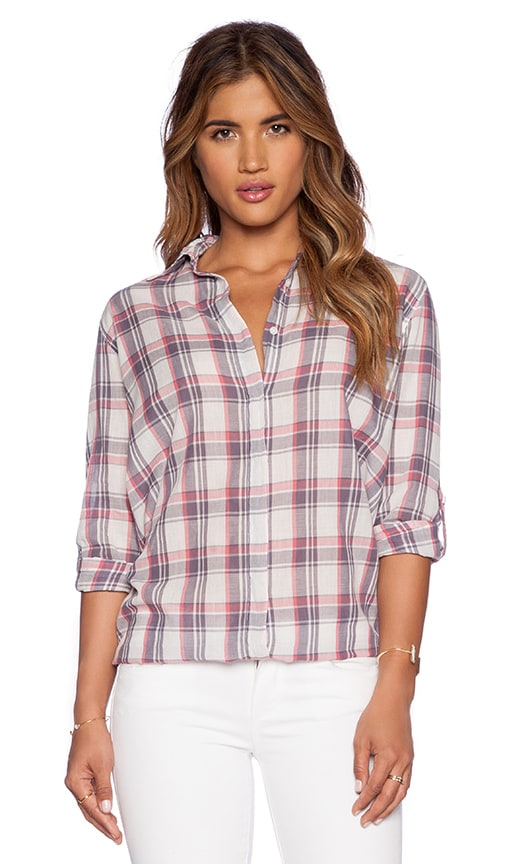SUNDRY Plaid Oversized Button Up Top in White