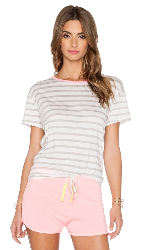 SUNDRY Stripe Loose Crew Tee in White & Grey