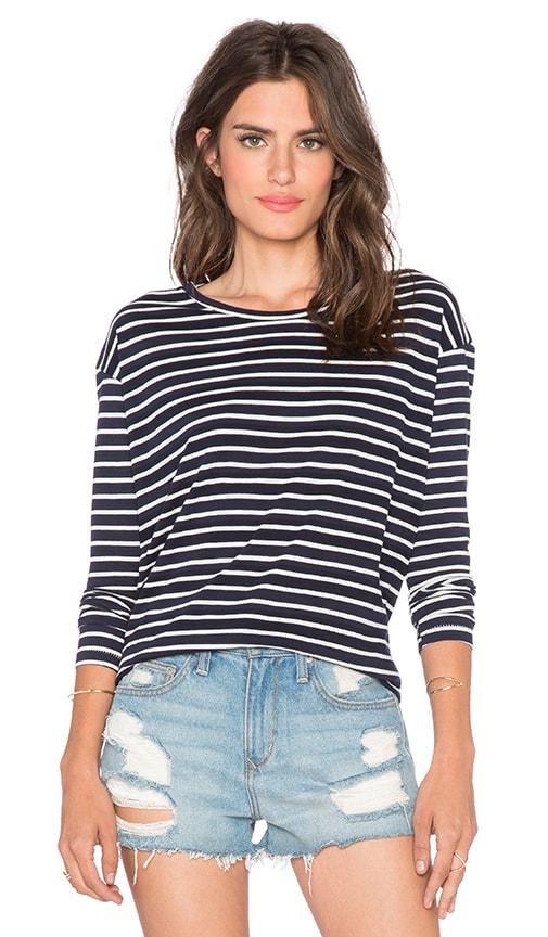Striped Long Sleeve Drop Shoulder Tee