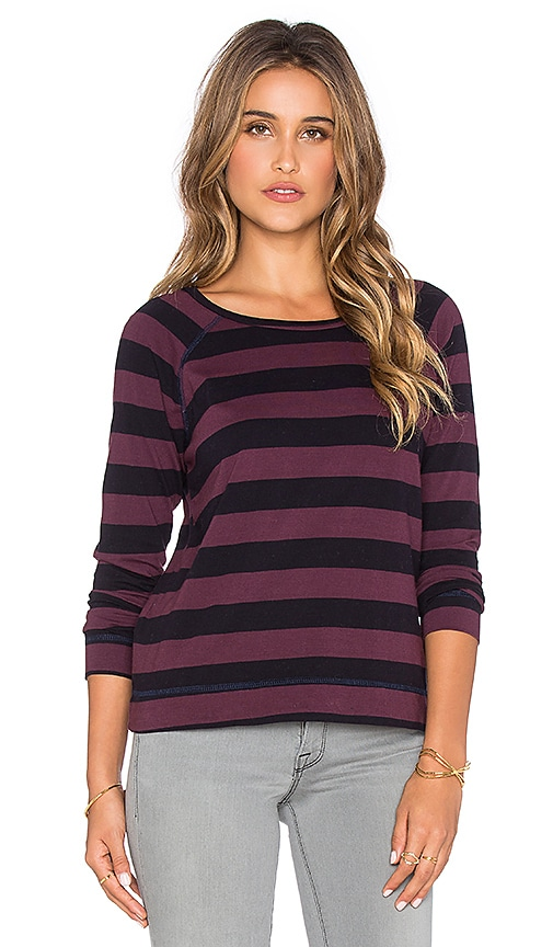 SUNDRY Rugby Stripe Long Sleeve Raglan Tee in Aubergine