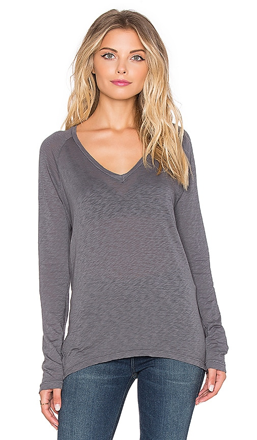 Boxy Long Sleeve V-Neck Tee