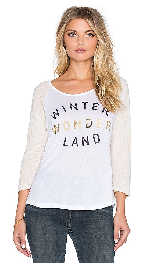 SUNDRY Winter Wonderland Baseball Tee in White & Heather Oatmeal