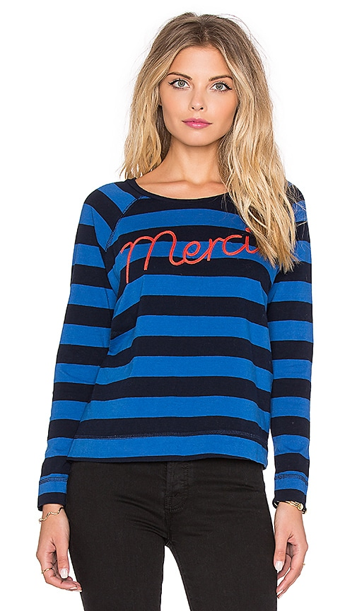 SUNDRY Merci Long Sleeve Raglan Tee in Klein Blue
