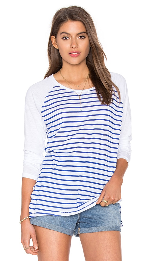 SUNDRY Supima Slub Stipes Long Sleeve Tee in Blue Stripes