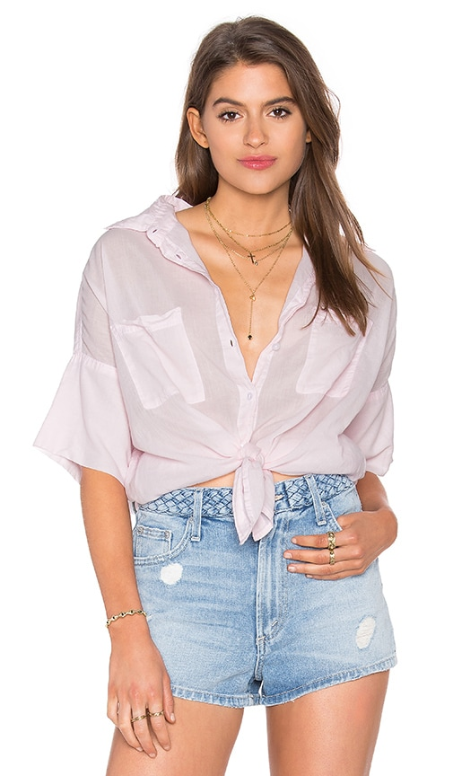 SUNDRY Cotton Voile Short Sleeve Tee in Rose