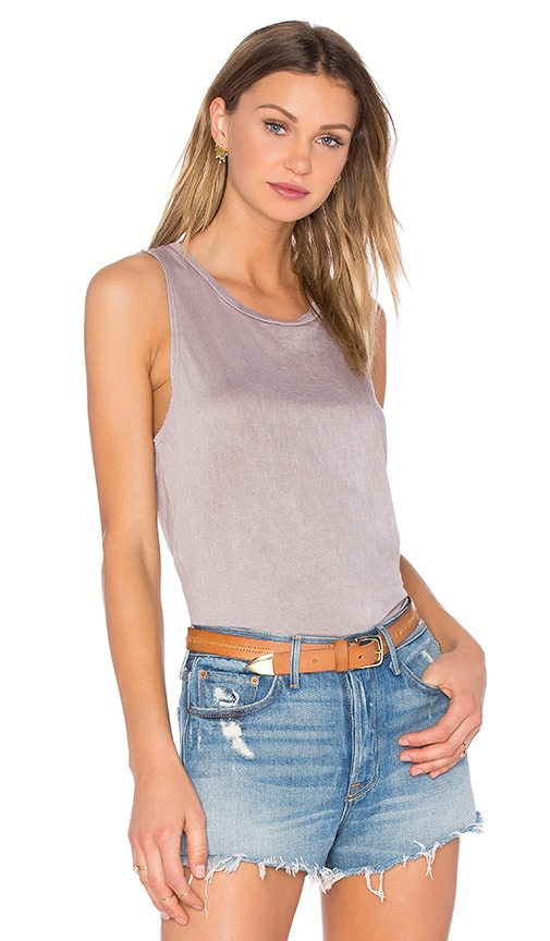 SUNDRY Light Jersey Vintage Wash Muscle Tank in Gray